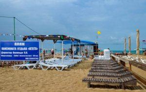 Автобусом к морю из Тулы в Витязево пансионат АГАТА навесы на пляже